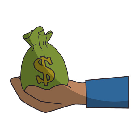 hand holding a money sack icon over white background vector illustration