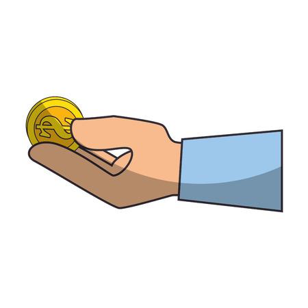 Hand met geld munt pictogram over witte achtergrond vectorillustratie Stockfoto - 82080010