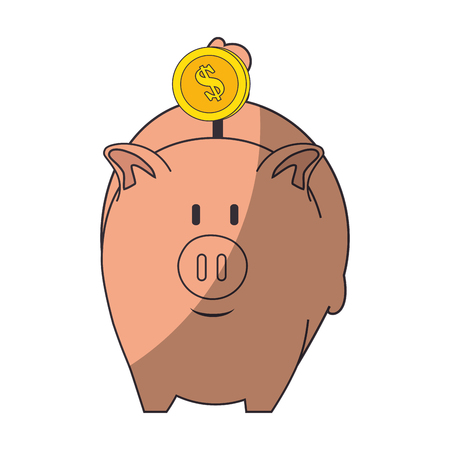 piggy bank icon over white background colorful design vector illustration