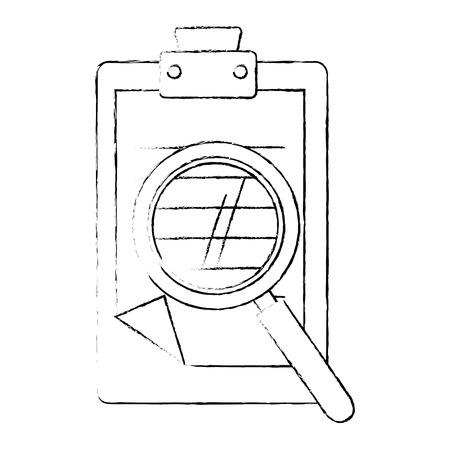 Rapport tabel en vergrootglas pictogram over witte achtergrond vectorillustratie Stockfoto - 82080391