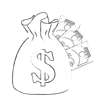 money sack and bills  icon over white background vector illustration