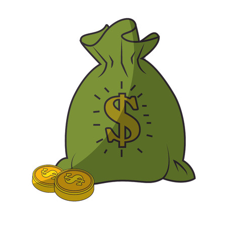 money sack and coins  icon over white background vector illustration