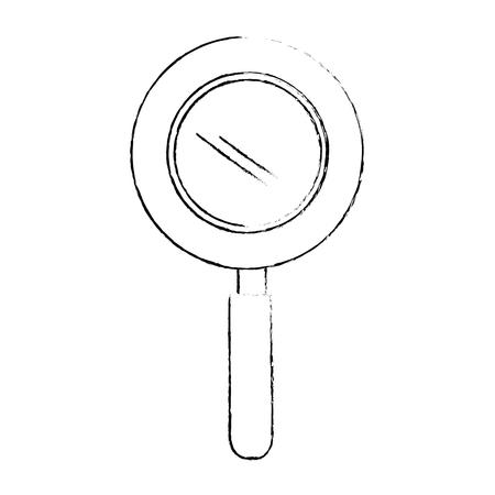 白い背景ベクトルの上に虫眼鏡アイコン