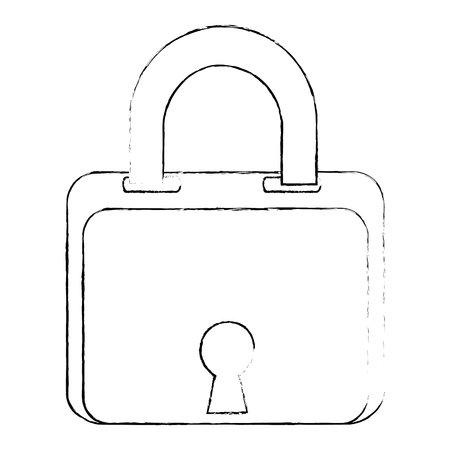 security padlock icon over white background vector illustration