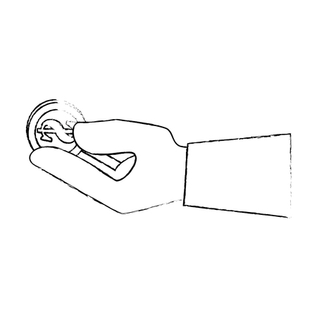 Hand met geld munt pictogram over witte achtergrond vectorillustratie Stockfoto - 82081851