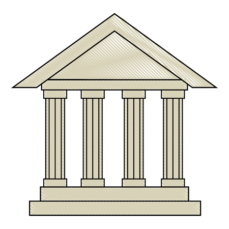 bank building icon over white background vector illustration