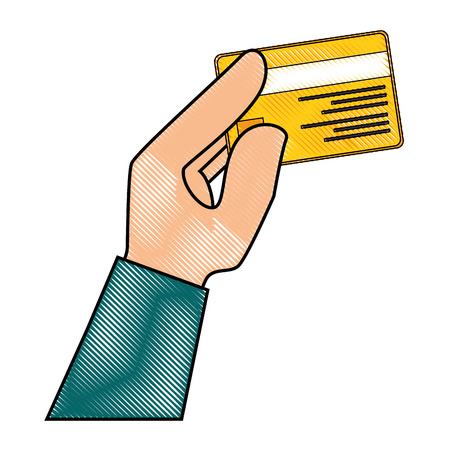 technology transaction: hand holding a credit card icon over white background vector illustration