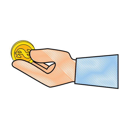 hand touch: hand with money coin icon over white background vector illustration