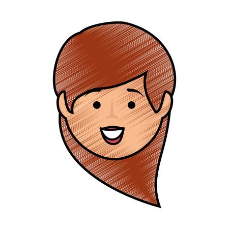 흰색 배경 위에 만화 행복 한 여자 아이콘 화려한 디자인 벡터 일러스트 레이 션