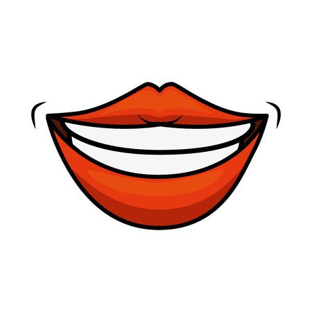 흰색 배경 벡터 일러스트 레이 션을 통해 관능적 인 입술 웃는 아이콘