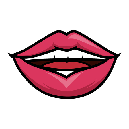 sensual lips icon over white background vector illustration