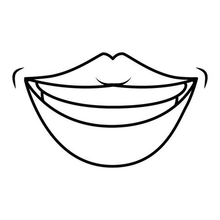 Labios sensuales icono sonriente sobre fondo blanco ilustración vectorial Foto de archivo - 82082868