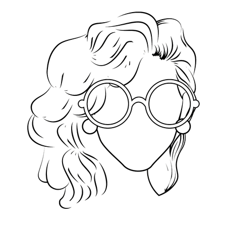 perfect face: retro woman with glasses icon over white background vector illustration Illustration