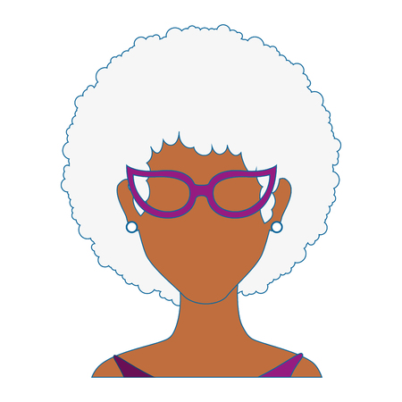 perfect face: retro woman with glasses icon over white background colorful design vector illustration Illustration