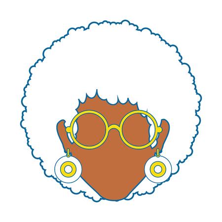 retro woman with glasses icon over white background colorful design vector illustration Illustration