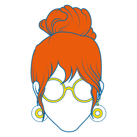 retro woman with glasses icon over white background colorful design vector illustration Illustration