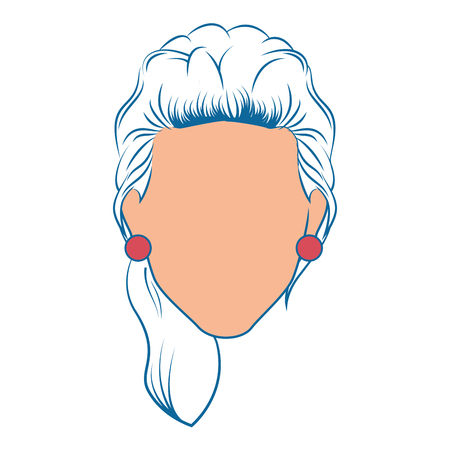 perfect face: retro woman icon over white background colorful design vector illustration