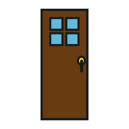 白い背景のベクトル図をドアのアイコン  イラスト・ベクター素材