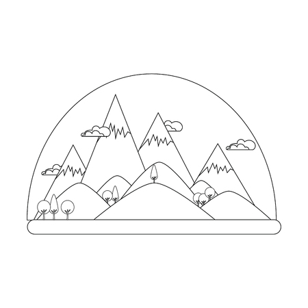 mountains landscape icon over white background vector illustration
