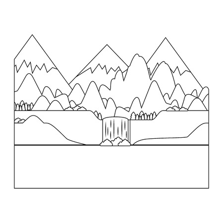 mountains and lake landscape icon over white background vector illustration Ilustração
