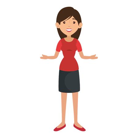 Femme portant une jupe et un chemisier icône sur fond blanc illustration vectorielle Banque d'images - 82083112