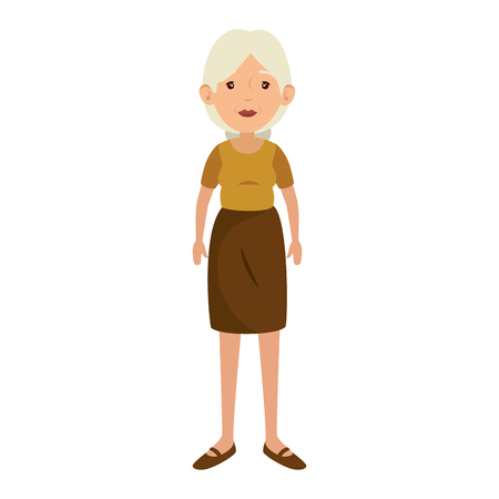 woman wearing a skirt and blouse icon over white background vector illustration 版權商用圖片 - 82083116
