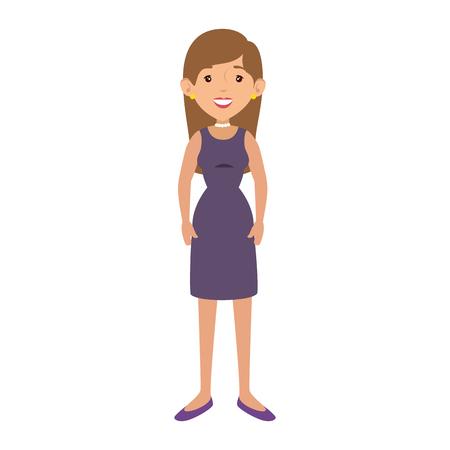 vrouw een jurk icoon dragen op witte achtergrond vector illustratie Stock Illustratie