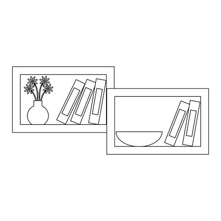 plank met decoratieve objecten pictogram over witte achtergrond vectorillustratie