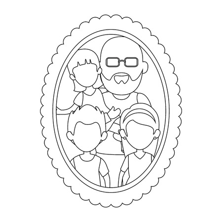 frame with grandfather with kids picture icon over white background vector illustration
