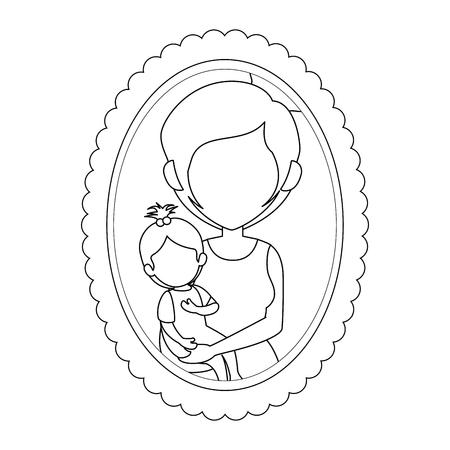 Cadre avec la mère et l & # 39 ; image de fille icône sur fond blanc illustration vectorielle Banque d'images - 82083137