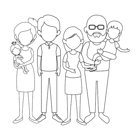 grandparents with kids icon over white background vector illustration