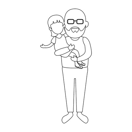 avatar grandfather holding a girl icon over white background vector illustration Illustration