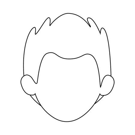 白い背景ベクトルイラストの上に男の顔のアイコン  イラスト・ベクター素材