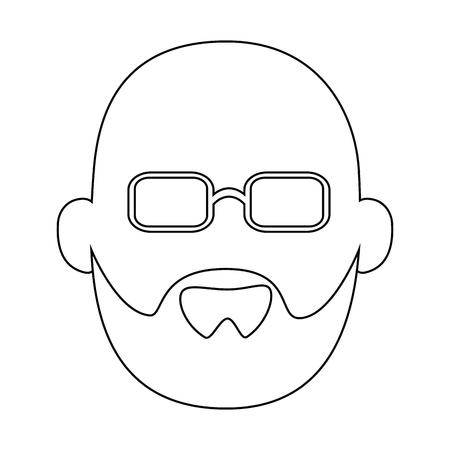 아바타 할아버지 아이콘 위에 흰색 배경 벡터 일러스트 레이션