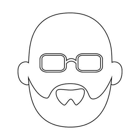 avatar grandfather icon over white background vector illustration