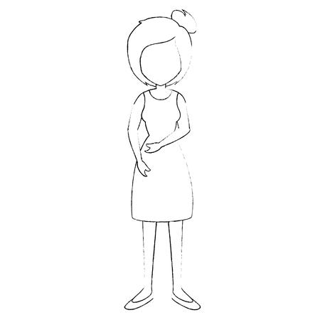 흰색 배경 벡터 일러스트 레이 션 위에 드레스 아이콘을 착용 해 여자