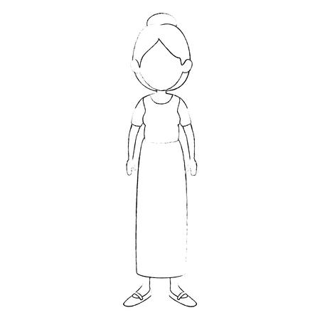 白い背景ベクトルイラストの上にスカートとブラウスのアイコンを身に着けている女性
