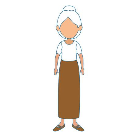 흰색 배경 벡터 일러스트 레이 션 위에 치마와 블라우스 아이콘을 착용 해 여자 일러스트