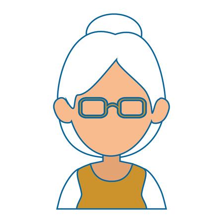아바타 흰색 배경 위에 안경 아이콘을 가진 여자 화려한 디자인 벡터 일러스트 레이 션