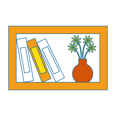 shelf with decorative objects icon over white background vector illustration
