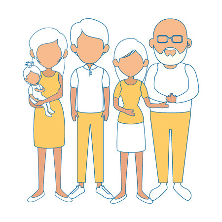 grandparents with kids icon over white background colorful design vector illustration