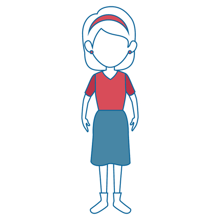 woman wearing a skirt and blouse icon over white background vector illustration