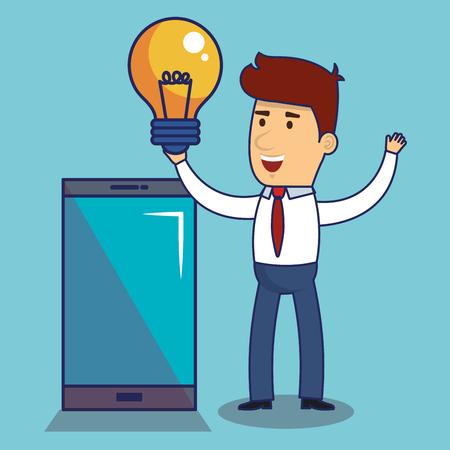 Smartphone businessman and light bulb over blue background vector illustration