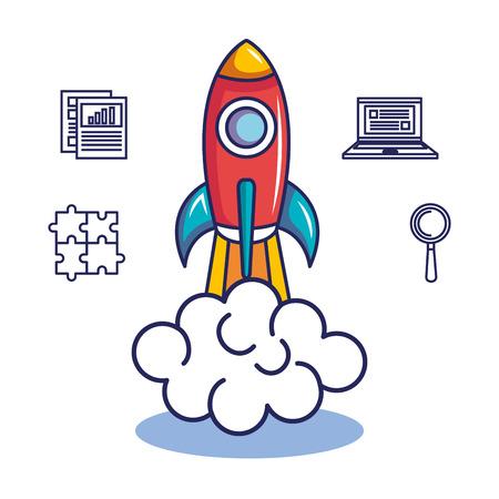 로켓과 손으로 그려 비즈니스 시작 관련 개체 흰색 배경 위에