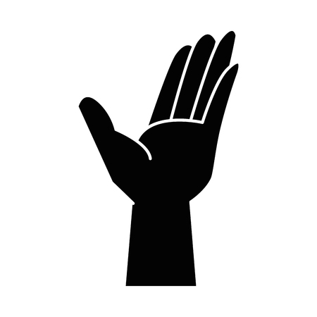 human hand icon over white background vector illustration