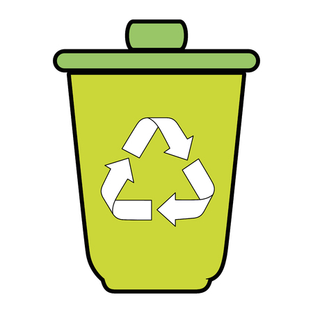 trash bucket with recycle sign icon over white background vector illustration Illustration