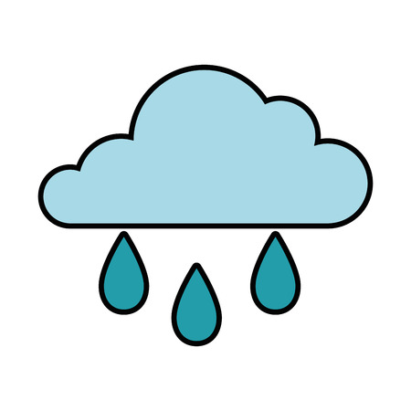 cloud and water drops icon over white background vector illustration