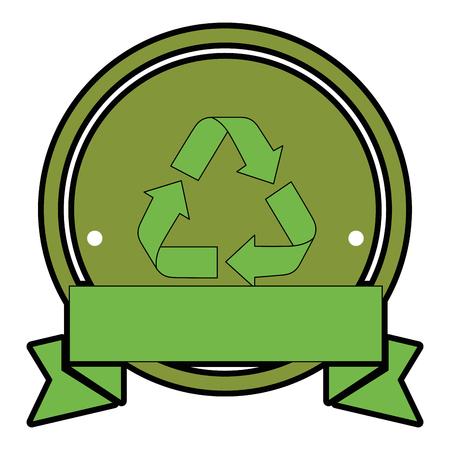 Sigillo timbro con riciclare icona segno su sfondo bianco design colorato illustrazione vettoriale Archivio Fotografico - 82190917