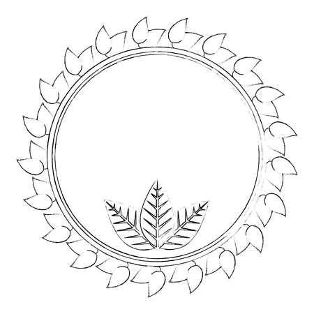 decorative circular frame with leaves around icon over white background vector illustration