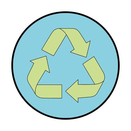 白地カラフルなデザインのベクトル図をリサイクル記号アイコンにスタンプをシールします。  イラスト・ベクター素材